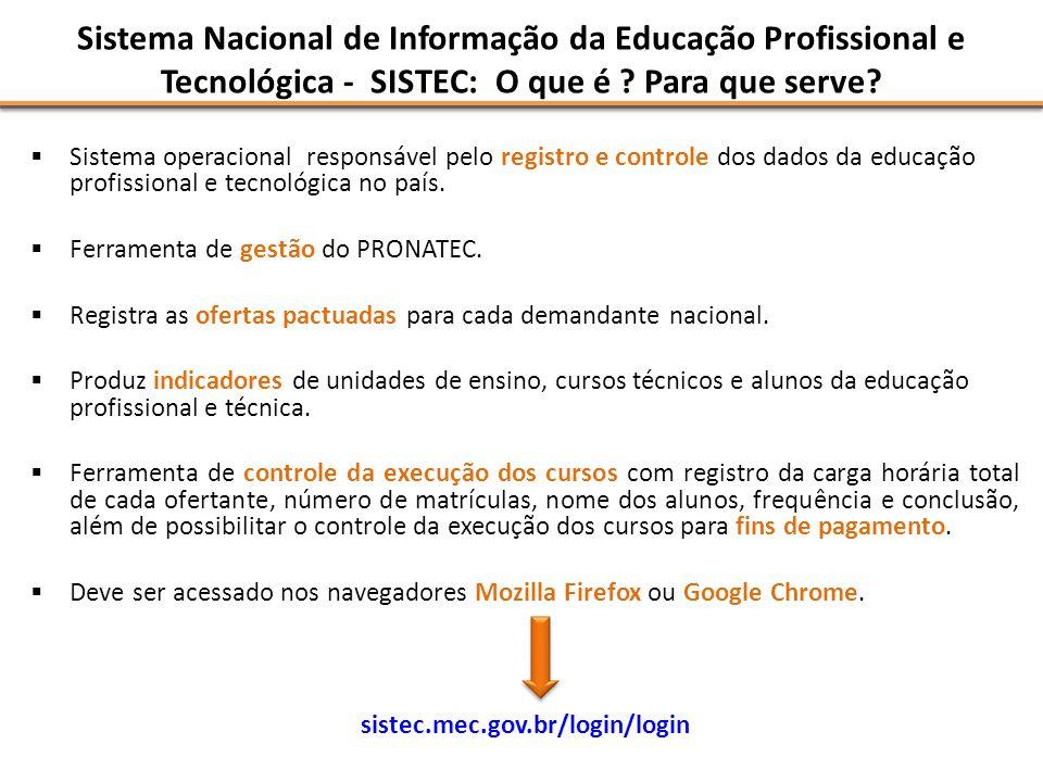 Sistema Nacional de Informação da Educação Profissional e Tecnológica - SISTEC: O que é ? Para que serve? Sistema operacional responsável pelo registr