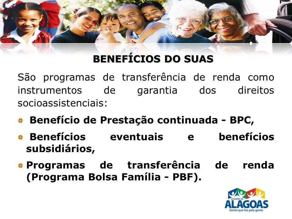 BENEFÍCIOS DO SUAS São programas de transferência de renda como instrumentos de garantia dos direitos socioassistenciais: Benefício de Prestação conti