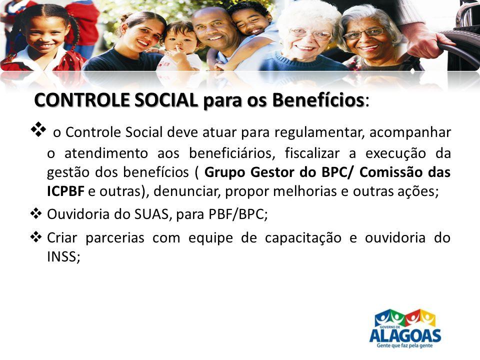 CONTROLE SOCIAL para os Benefícios CONTROLE SOCIAL para os Benefícios: o Controle Social deve atuar para regulamentar, acompanhar o atendimento aos be
