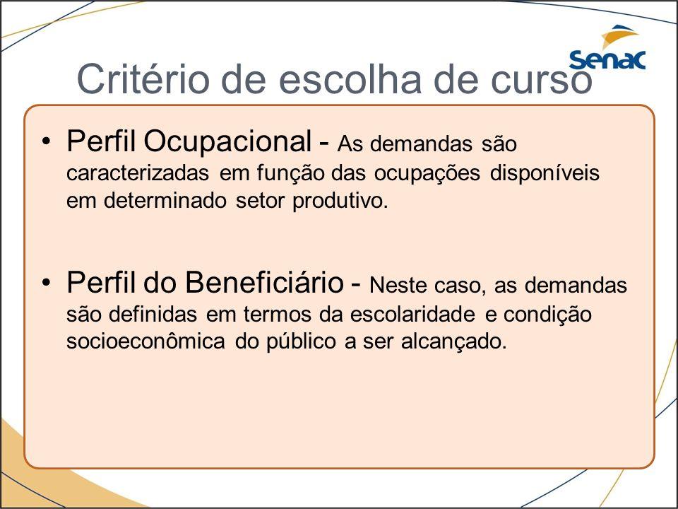 Critério de escolha de curso Perfil Ocupacional - As demandas são caracterizadas em função das ocupações disponíveis em determinado setor produtivo. P