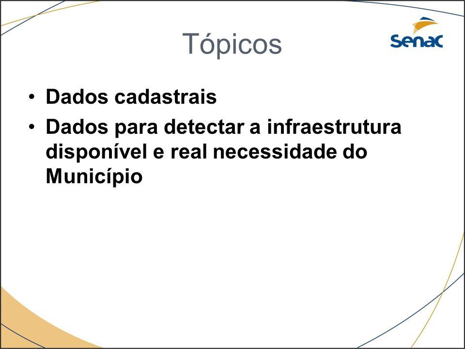 Tópicos Dados cadastrais Dados para detectar a infraestrutura disponível e real necessidade do Município