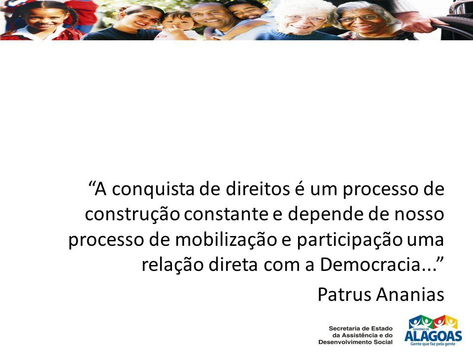 A conquista de direitos é um processo de construção constante e depende de nosso processo de mobilização e participação uma relação direta com a Democracia...