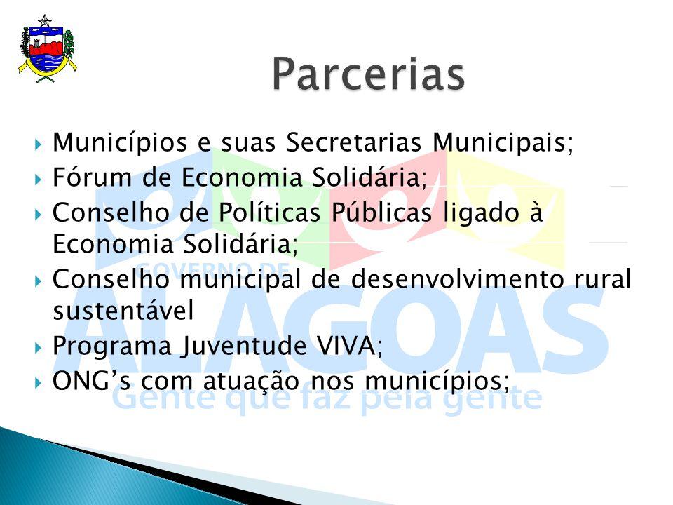 Municípios e suas Secretarias Municipais; Fórum de Economia Solidária; Conselho de Políticas Públicas ligado à Economia Solidária; Conselho municipal