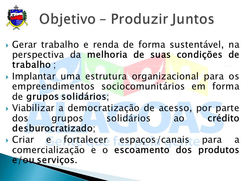 Gerar trabalho e renda de forma sustentável, na perspectiva da melhoria de suas condições de trabalho ; Implantar uma estrutura organizacional para os