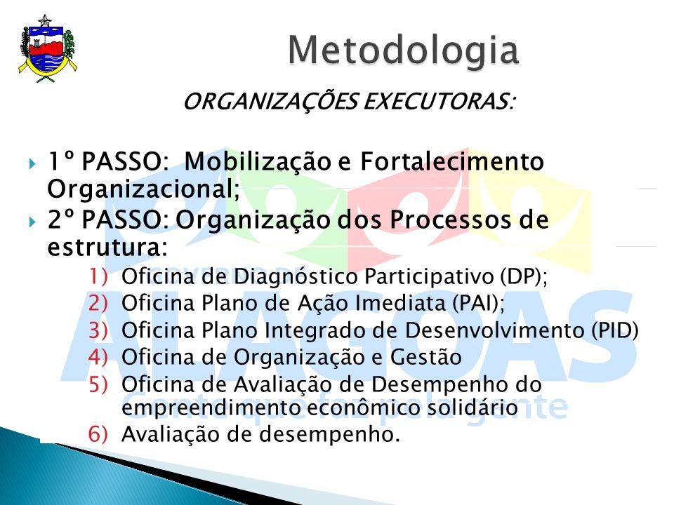 ORGANIZAÇÕES EXECUTORAS: 1º PASSO: Mobilização e Fortalecimento Organizacional; 2º PASSO: Organização dos Processos de estrutura: 1)Oficina de Diagnós