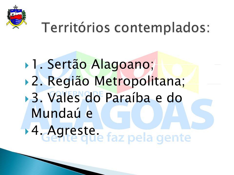 1. Sertão Alagoano; 2. Região Metropolitana; 3. Vales do Paraíba e do Mundaú e 4. Agreste.