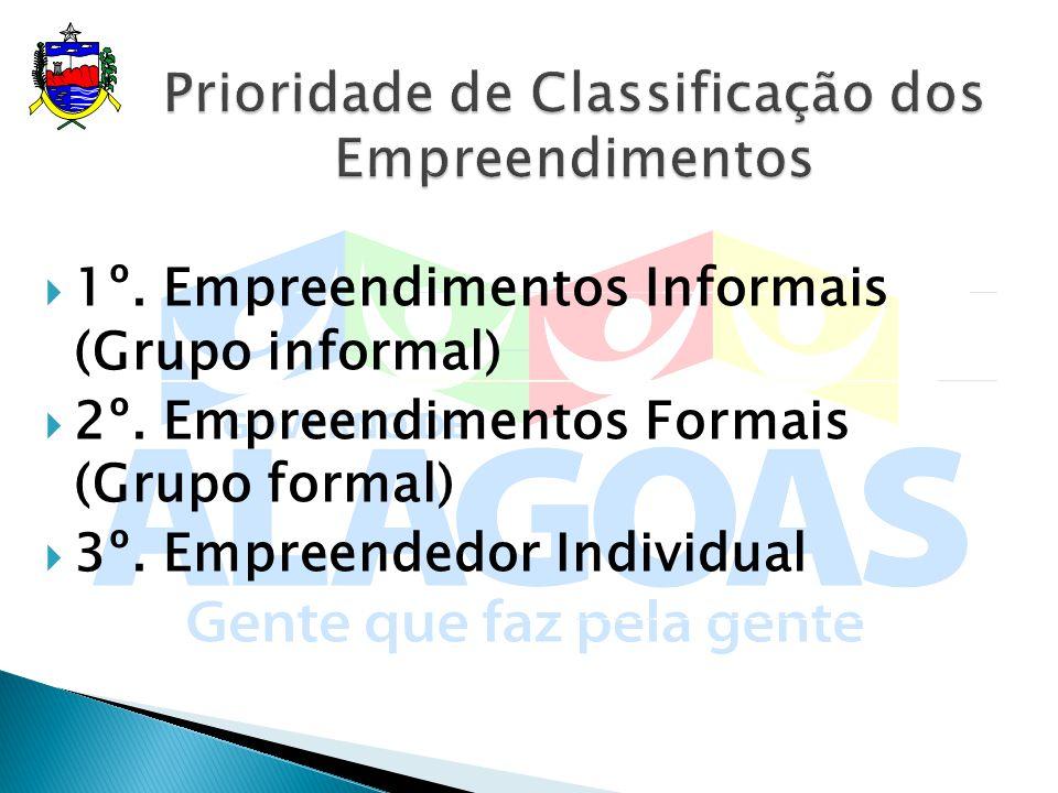 1º. Empreendimentos Informais (Grupo informal) 2º. Empreendimentos Formais (Grupo formal) 3º. Empreendedor Individual