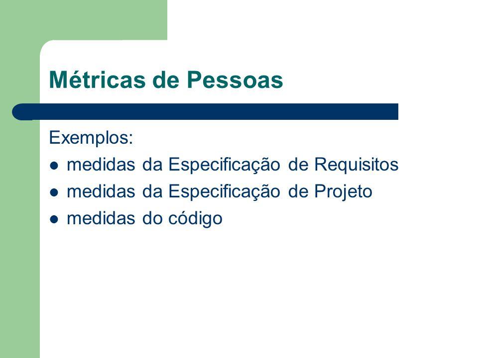 Métricas de Pessoas Exemplos: medidas da Especificação de Requisitos medidas da Especificação de Projeto medidas do código