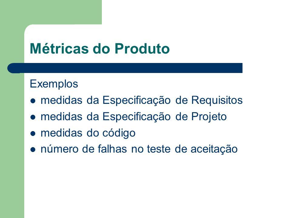Métricas do Produto Exemplos medidas da Especificação de Requisitos medidas da Especificação de Projeto medidas do código número de falhas no teste de