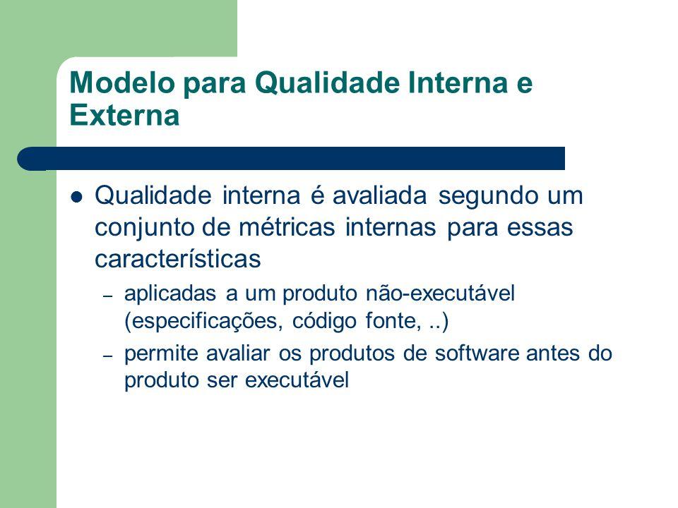Modelo para Qualidade Interna e Externa Qualidade interna é avaliada segundo um conjunto de métricas internas para essas características – aplicadas a