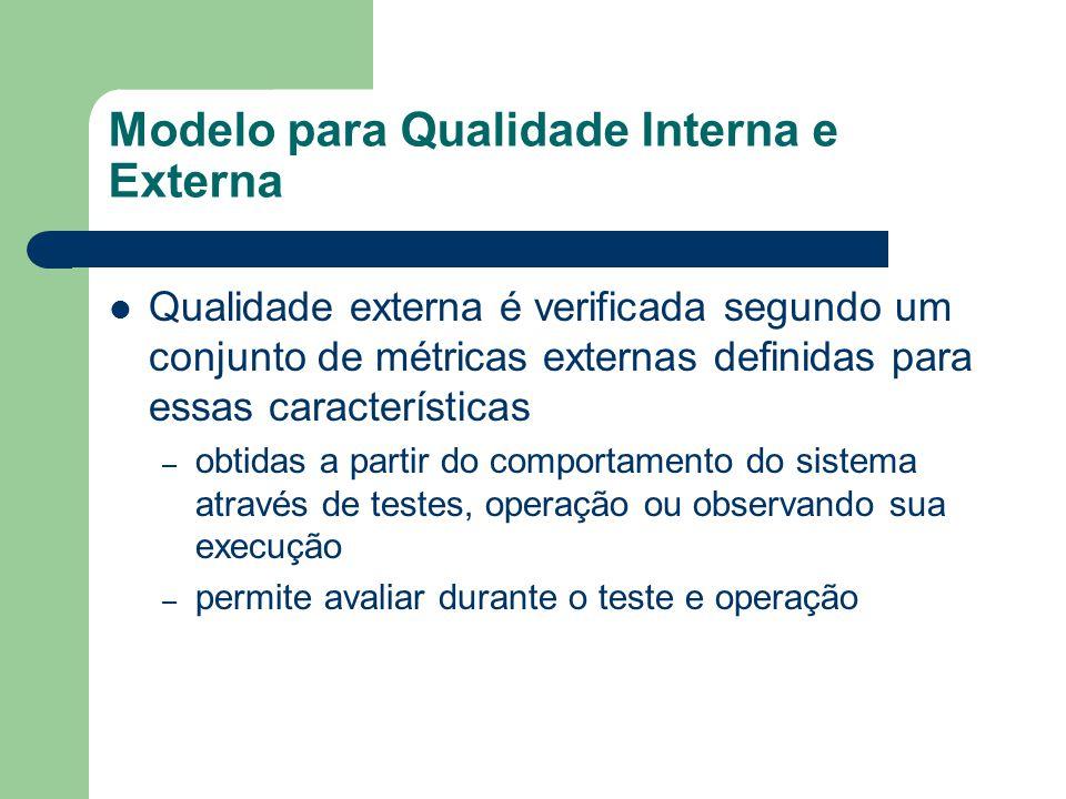 Modelo para Qualidade Interna e Externa Qualidade externa é verificada segundo um conjunto de métricas externas definidas para essas características –