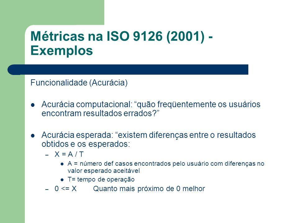 Métricas na ISO 9126 (2001) - Exemplos Funcionalidade (Acurácia) Acurácia computacional: quão freqüentemente os usuários encontram resultados errados?