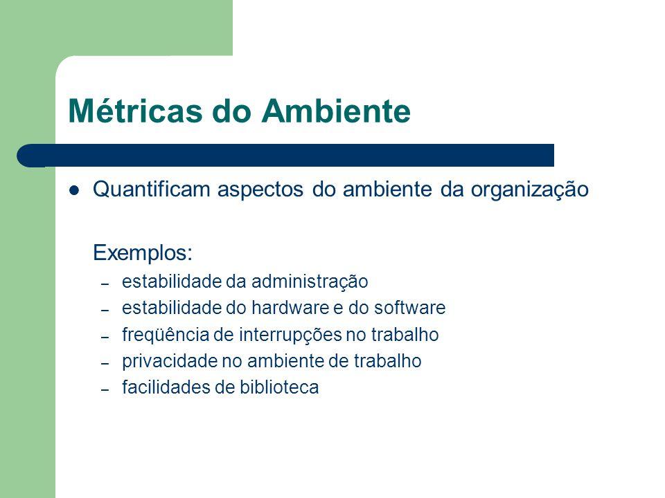 Métricas do Ambiente Quantificam aspectos do ambiente da organização Exemplos: – estabilidade da administração – estabilidade do hardware e do softwar