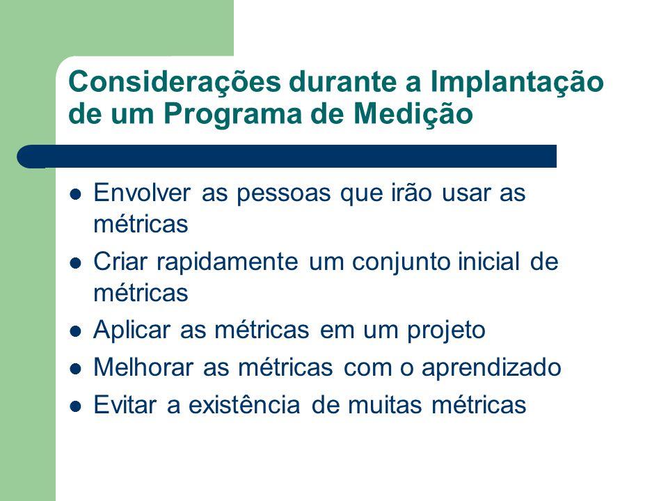 Considerações durante a Implantação de um Programa de Medição Envolver as pessoas que irão usar as métricas Criar rapidamente um conjunto inicial de m