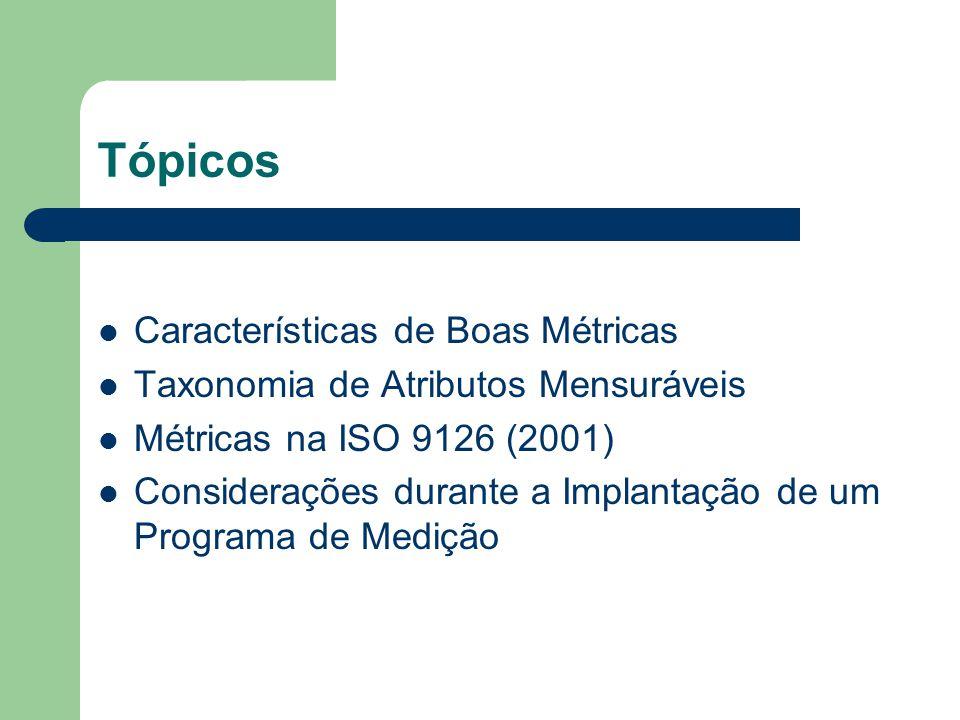 Tópicos Características de Boas Métricas Taxonomia de Atributos Mensuráveis Métricas na ISO 9126 (2001) Considerações durante a Implantação de um Prog