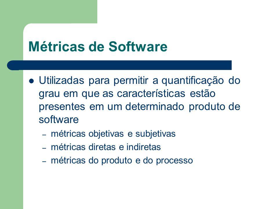 Métricas de Software Utilizadas para permitir a quantificação do grau em que as características estão presentes em um determinado produto de software