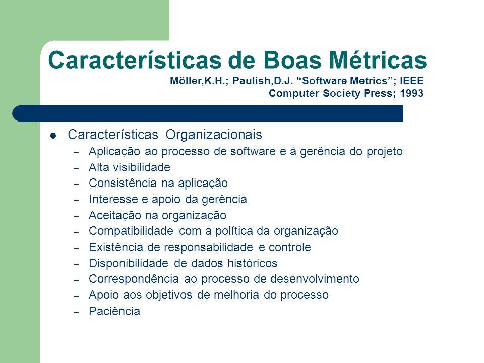 Características de Boas Métricas Características Organizacionais – Aplicação ao processo de software e à gerência do projeto – Alta visibilidade – Con