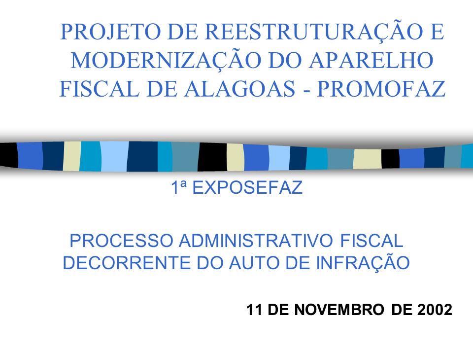 PROJETO DE REESTRUTURAÇÃO E MODERNIZAÇÃO DO APARELHO FISCAL DE ALAGOAS - PROMOFAZ 1ª EXPOSEFAZ PROCESSO ADMINISTRATIVO FISCAL DECORRENTE DO AUTO DE INFRAÇÃO 11 DE NOVEMBRO DE 2002