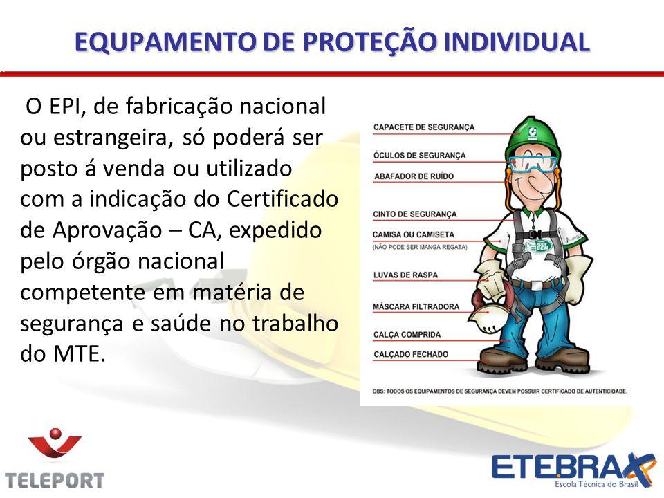 EQUPAMENTO DE PROTEÇÃO INDIVIDUAL O EPI, de fabricação nacional ou estrangeira, só poderá ser posto á venda ou utilizado com a indicação do Certificad
