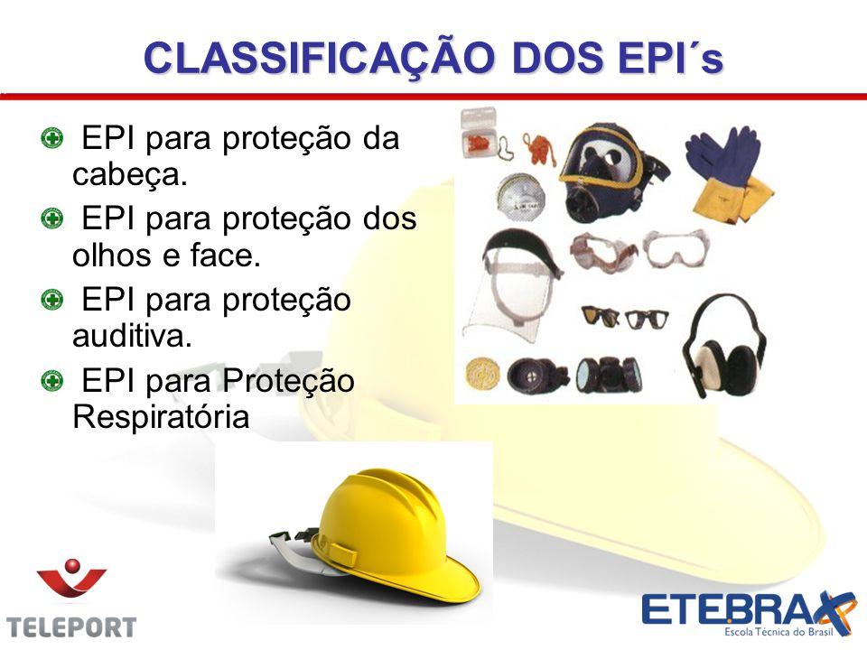 CLASSIFICAÇÃO DOS EPI´s EPI para proteção da cabeça. EPI para proteção dos olhos e face. EPI para proteção auditiva. EPI para Proteção Respiratória