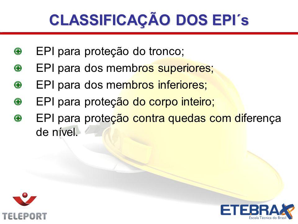 CLASSIFICAÇÃO DOS EPI´s EPI para proteção do tronco; EPI para dos membros superiores; EPI para dos membros inferiores; EPI para proteção do corpo inte