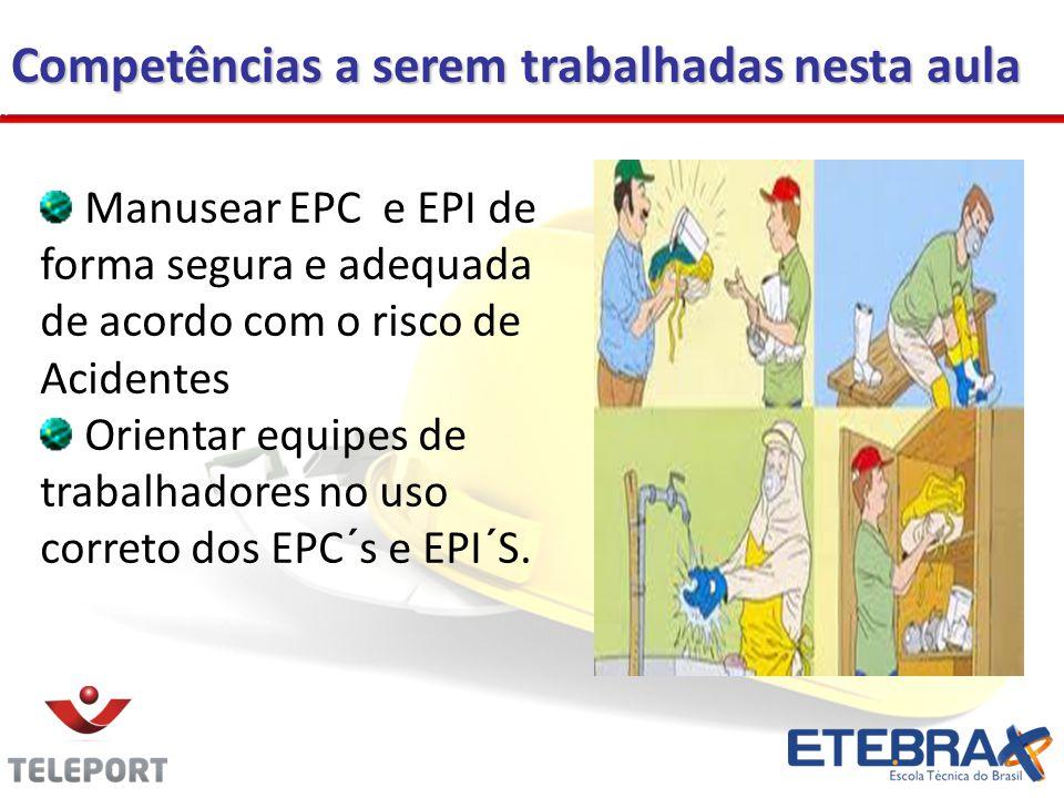 Competências a serem trabalhadas nesta aula Manusear EPC e EPI de forma segura e adequada de acordo com o risco de Acidentes Orientar equipes de traba