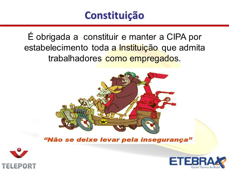 Constituição É obrigada a constituir e manter a CIPA por estabelecimento toda a Instituição que admita trabalhadores como empregados.