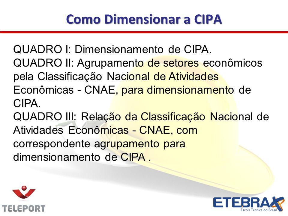 Como Dimensionar a CIPA QUADRO I: Dimensionamento de CIPA.