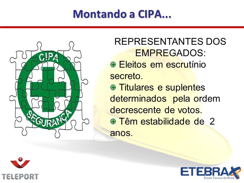 Montando a CIPA...REPRESENTANTES DOS EMPREGADOS: Eleitos em escrutínio secreto.