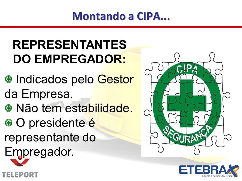 Montando a CIPA...REPRESENTANTES DO EMPREGADOR: Indicados pelo Gestor da Empresa.