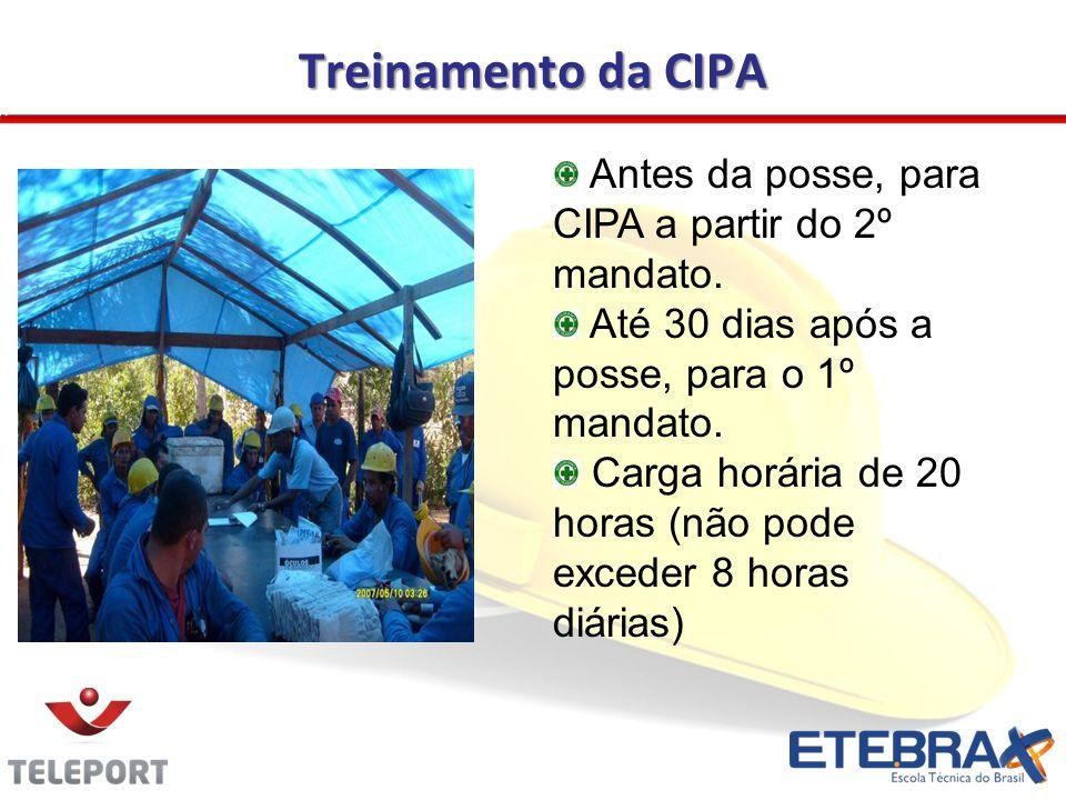 Treinamento da CIPA Antes da posse, para CIPA a partir do 2º mandato.
