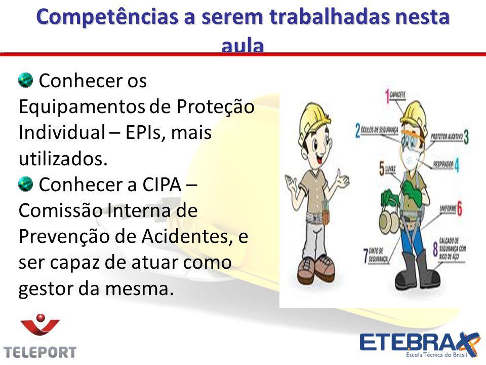 Competências a serem trabalhadas nesta aula Conhecer os Equipamentos de Proteção Individual – EPIs, mais utilizados.
