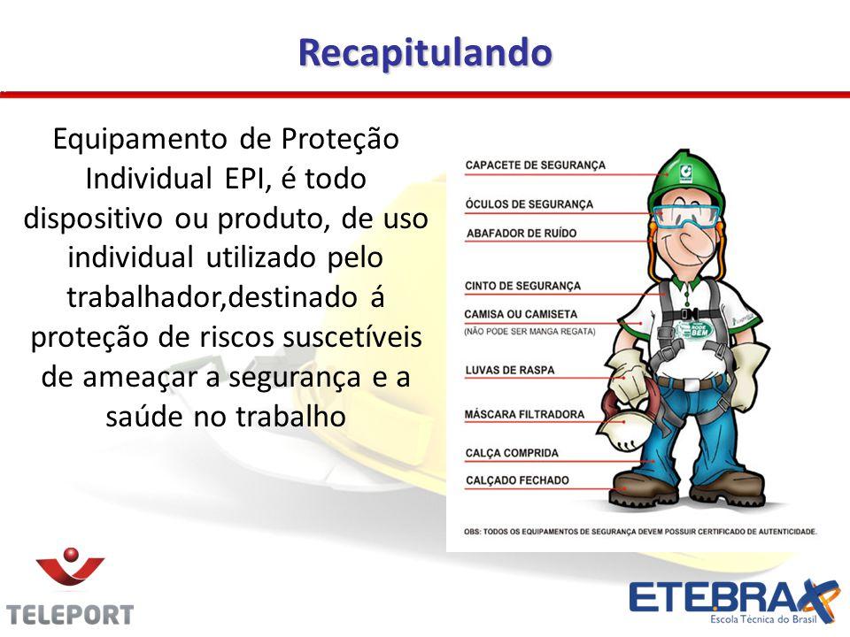 Recapitulando Equipamento de Proteção Individual EPI, é todo dispositivo ou produto, de uso individual utilizado pelo trabalhador,destinado á proteção de riscos suscetíveis de ameaçar a segurança e a saúde no trabalho