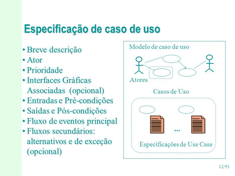 12/51 Especificação de caso de uso Breve descriçãoBreve descrição AtorAtor PrioridadePrioridade Interfaces GráficasInterfaces Gráficas Associadas (opcional) Entradas e Pré-condiçõesEntradas e Pré-condições Saídas e Pós-condiçõesSaídas e Pós-condições Fluxo de eventos principalFluxo de eventos principal Fluxos secundários:Fluxos secundários: alternativos e de exceção (opcional) Modelo de caso de uso Atores Casos de Uso Especificações de Use Case...