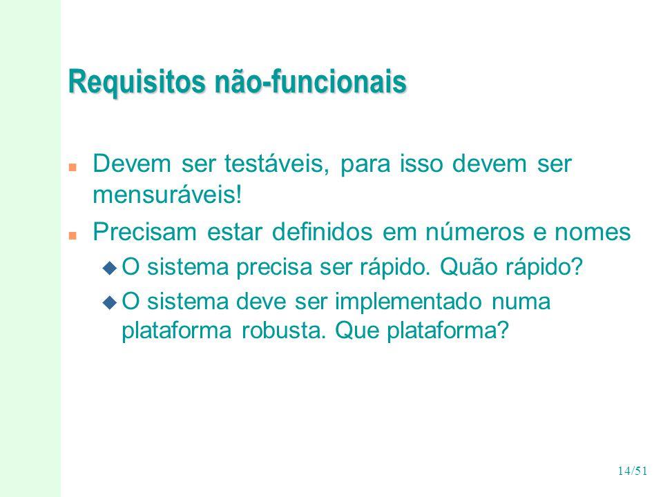 14/51 Requisitos não-funcionais n Devem ser testáveis, para isso devem ser mensuráveis.