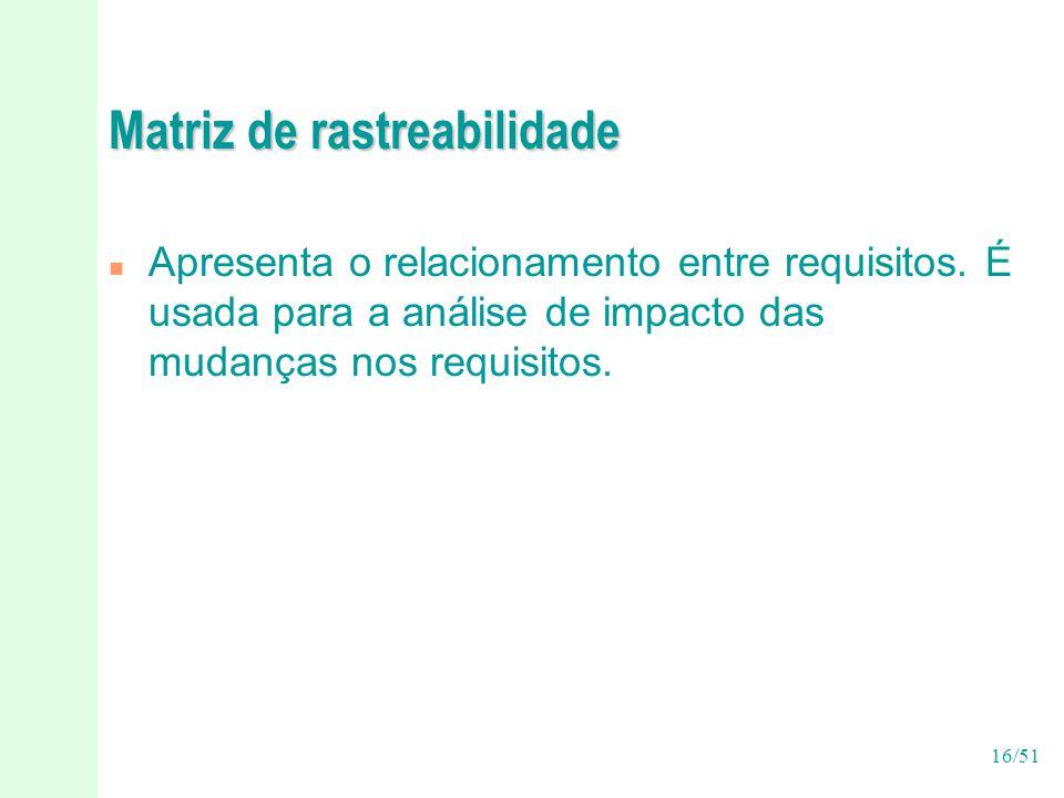 16/51 Matriz de rastreabilidade n Apresenta o relacionamento entre requisitos.