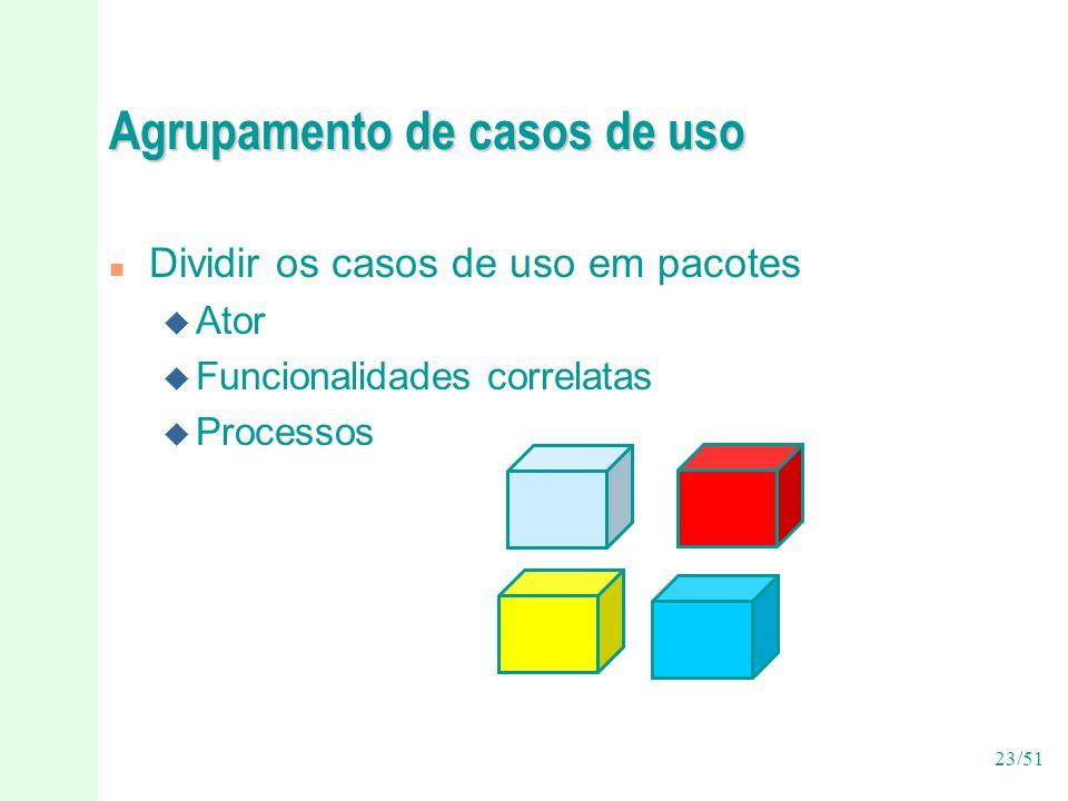 23/51 Agrupamento de casos de uso n Dividir os casos de uso em pacotes u Ator u Funcionalidades correlatas u Processos