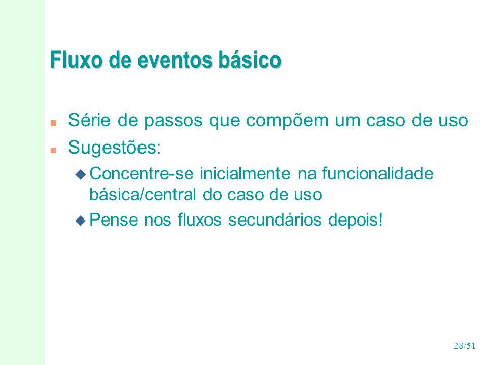 28/51 Fluxo de eventos básico n Série de passos que compõem um caso de uso n Sugestões: u Concentre-se inicialmente na funcionalidade básica/central do caso de uso u Pense nos fluxos secundários depois!