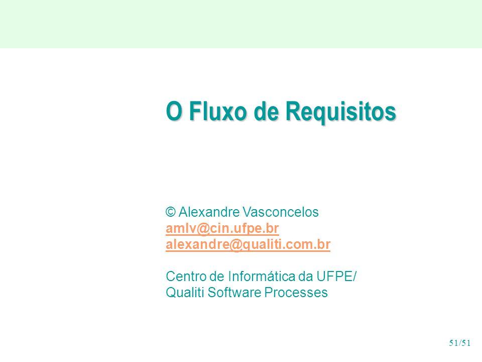 51/51 O Fluxo de Requisitos © Alexandre Vasconcelos amlv@cin.ufpe.br alexandre@qualiti.com.br Centro de Informática da UFPE/ Qualiti Software Processes