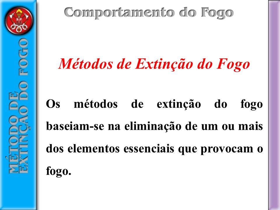 Métodos de Extinção do Fogo Os métodos de extinção do fogo baseiam-se na eliminação de um ou mais dos elementos essenciais que provocam o fogo.