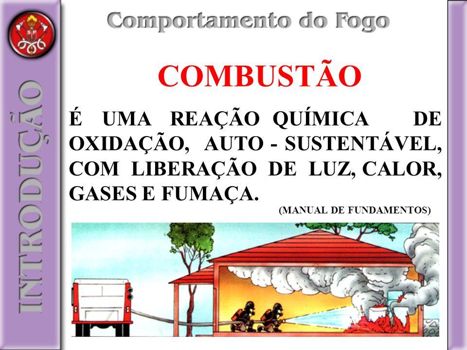 COMBUSTÃO É UMA REAÇÃO QUÍMICA DE OXIDAÇÃO, AUTO - SUSTENTÁVEL, COM LIBERAÇÃO DE LUZ, CALOR, GASES E FUMAÇA. (MANUAL DE FUNDAMENTOS)