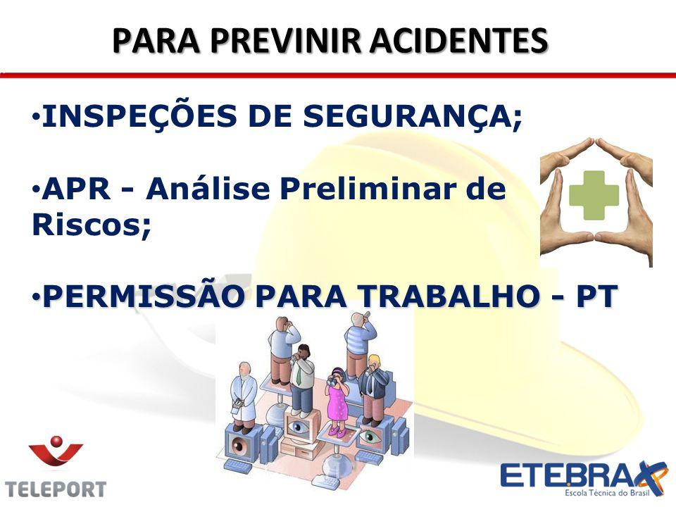 PARA PREVINIR ACIDENTES INSPEÇÕES DE SEGURANÇA; APR - Análise Preliminar de Riscos; PERMISSÃO PARA TRABALHO - PT PERMISSÃO PARA TRABALHO - PT