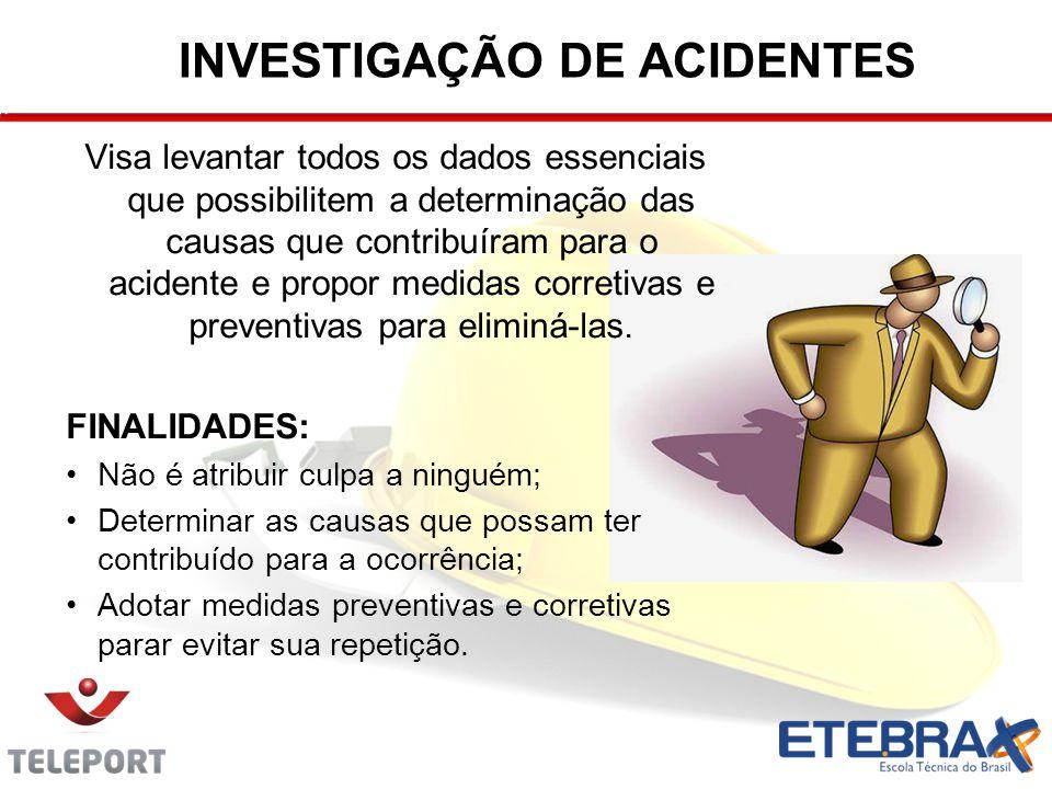 INVESTIGAÇÃO DE ACIDENTES Visa levantar todos os dados essenciais que possibilitem a determinação das causas que contribuíram para o acidente e propor