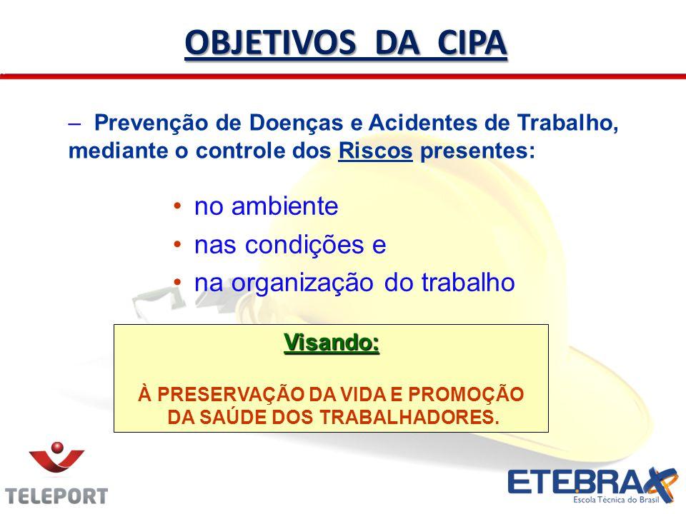 no ambiente nas condições e na organização do trabalho OBJETIVOS DA CIPA – Prevenção de Doenças e Acidentes de Trabalho, mediante o controle dos Risco