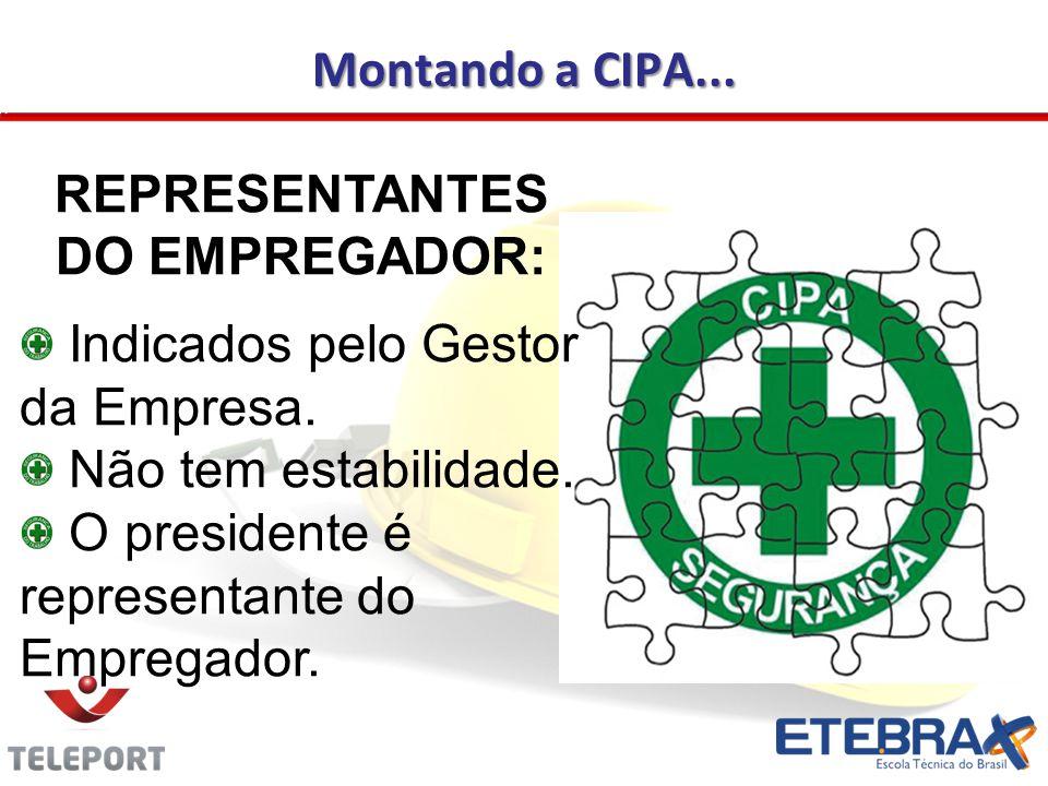 Montando a CIPA... REPRESENTANTES DO EMPREGADOR: Indicados pelo Gestor da Empresa. Não tem estabilidade. O presidente é representante do Empregador.