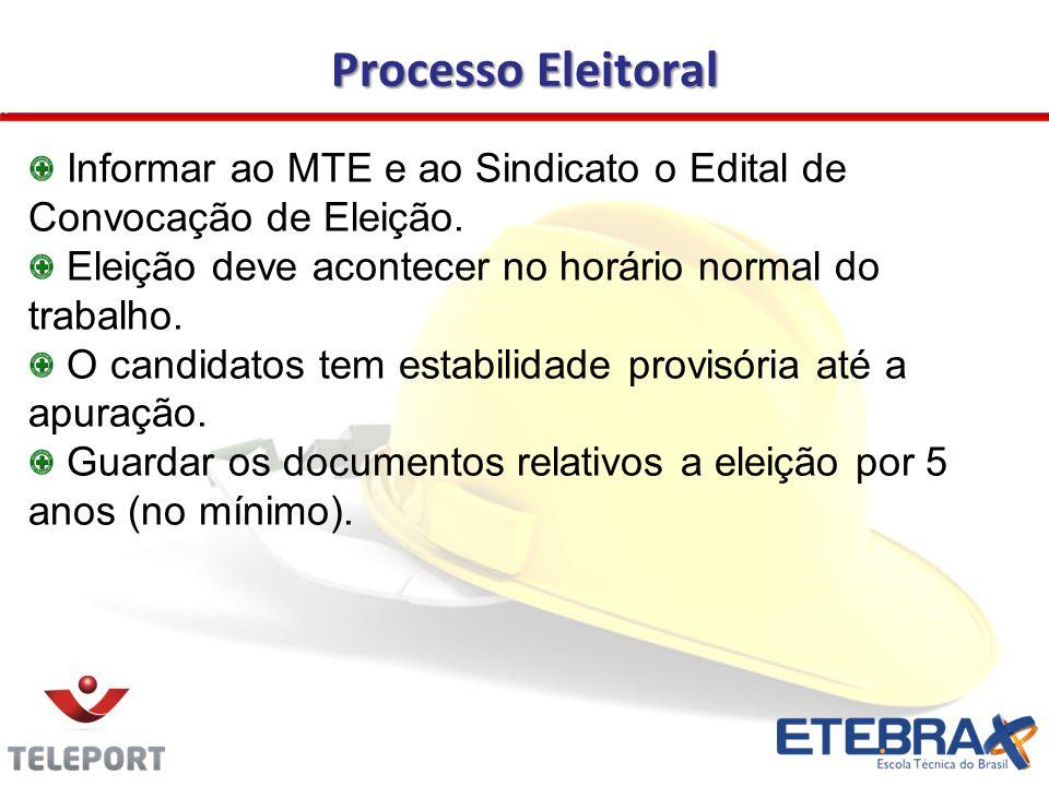 Processo Eleitoral Informar ao MTE e ao Sindicato o Edital de Convocação de Eleição. Eleição deve acontecer no horário normal do trabalho. O candidato
