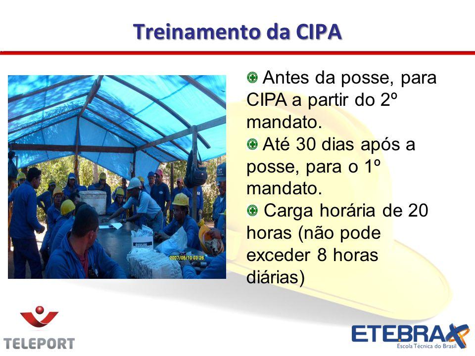 Treinamento da CIPA Antes da posse, para CIPA a partir do 2º mandato. Até 30 dias após a posse, para o 1º mandato. Carga horária de 20 horas (não pode
