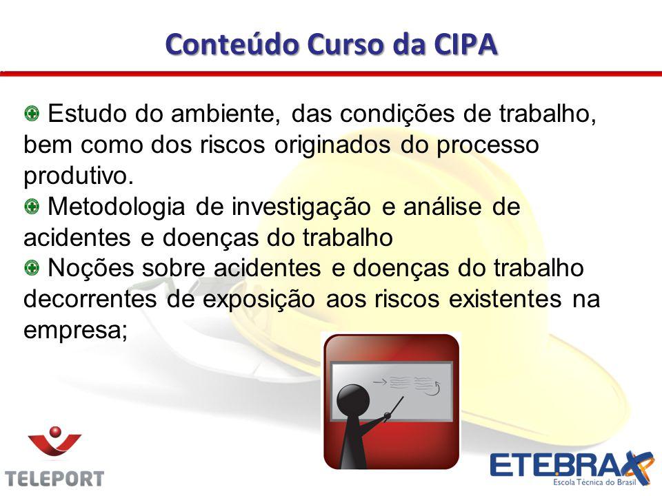 Conteúdo Curso da CIPA Estudo do ambiente, das condições de trabalho, bem como dos riscos originados do processo produtivo. Metodologia de investigaçã