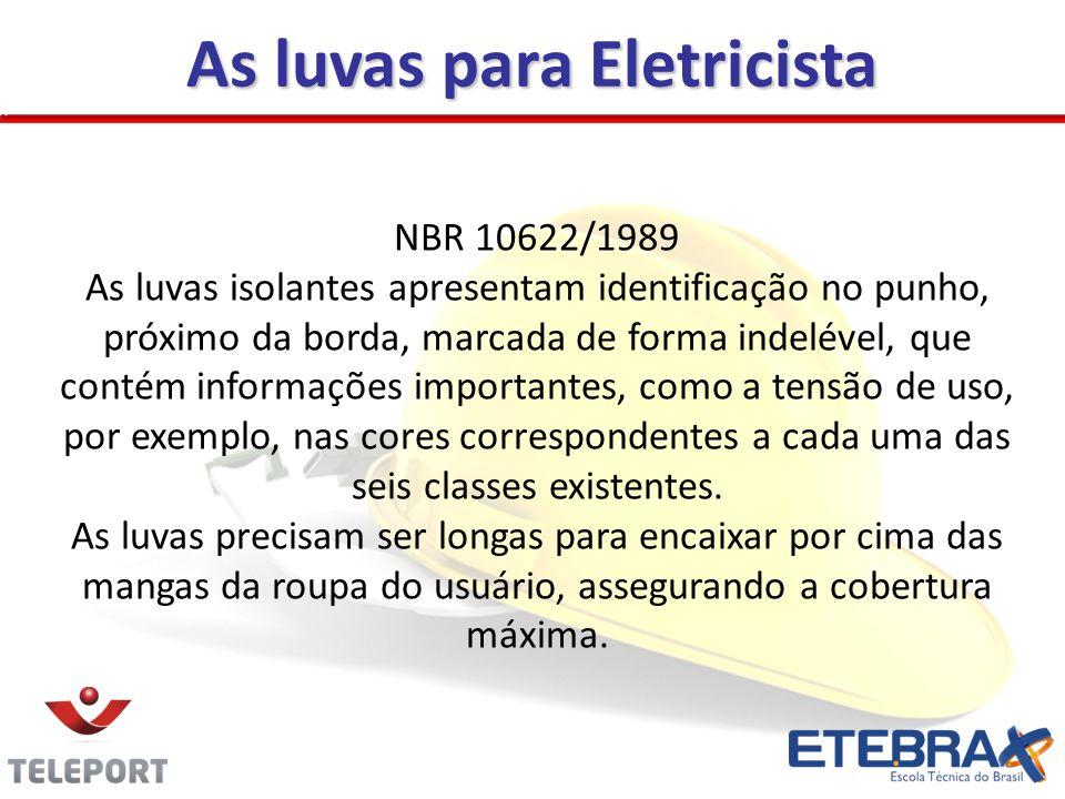 Necessidades de segurança Tabela - Classes de luvas isolantes (NBR 10622/89) ClasseCor Tensão de Uso (v) Tensão de Ensaio (v) Tensão de Perfuração (v) 00bege5002.5005.000 0vermelha1.0005.0006.000 1branca7.50010.00020.000 2amarela17.00020.00030.000 3verde26.50030.00040.000 4laranja36.00040.00050.000