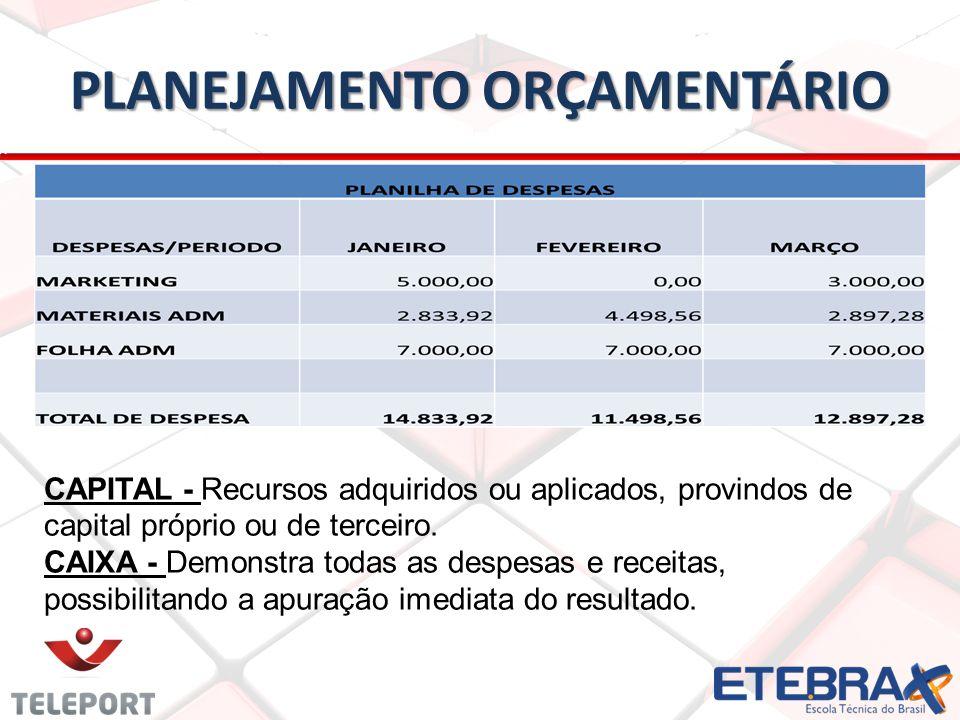 PLANEJAMENTO ORÇAMENTÁRIO CAPITAL - Recursos adquiridos ou aplicados, provindos de capital próprio ou de terceiro.